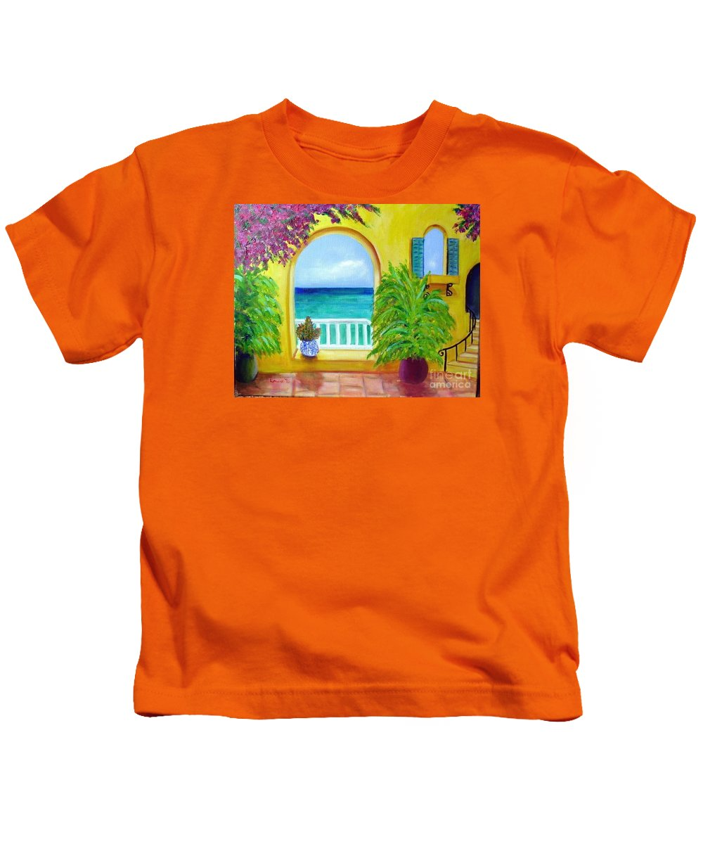 Patio Kids T-Shirt featuring the painting Vista Del Agua by Laurie Morgan