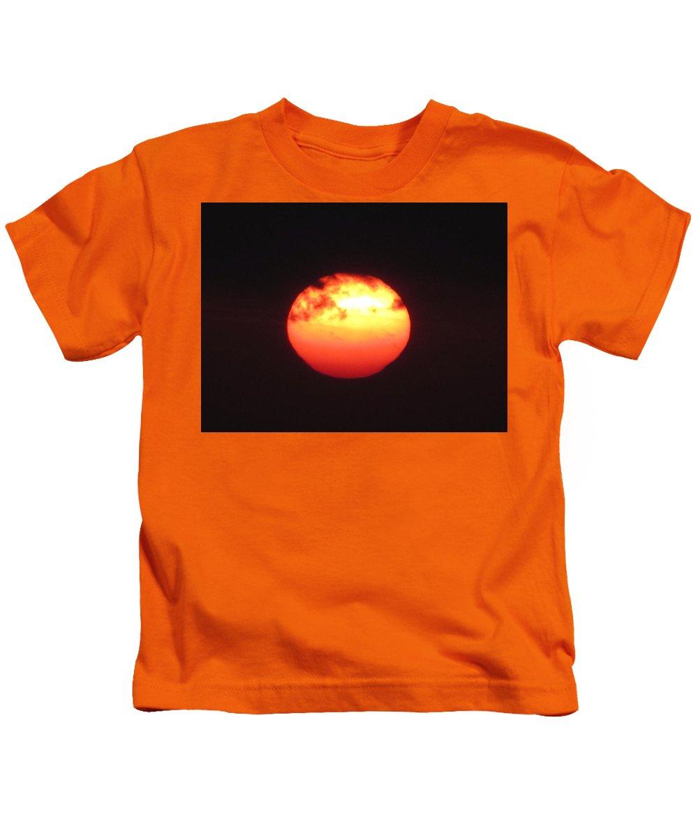 Sunset Kids T-Shirt featuring the photograph Volcanic Sun by Michelli Rios-Allen