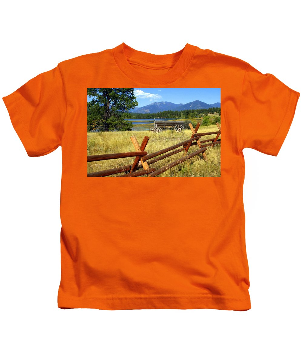 Landscape Kids T-Shirt featuring the photograph Wagon West by Marty Koch