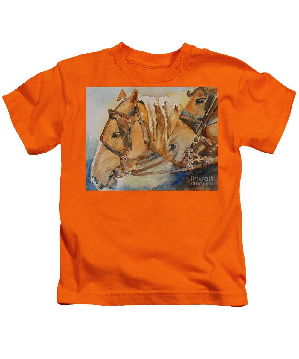 Horses Kids T-Shirt featuring the painting Waiting Patiently by Gretchen Bjornson