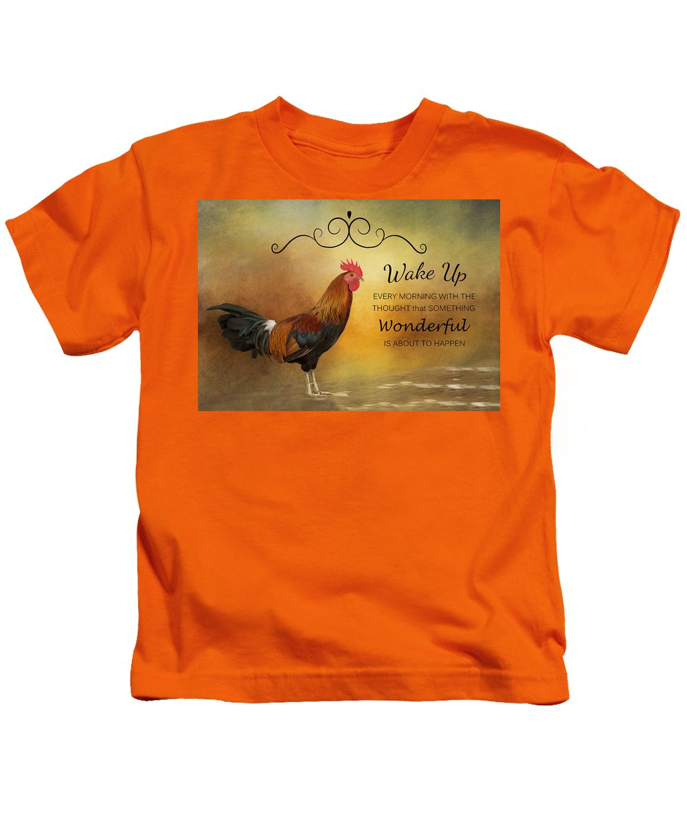 Rooster Kids T-Shirt featuring the photograph Wake Up by Kim Hojnacki