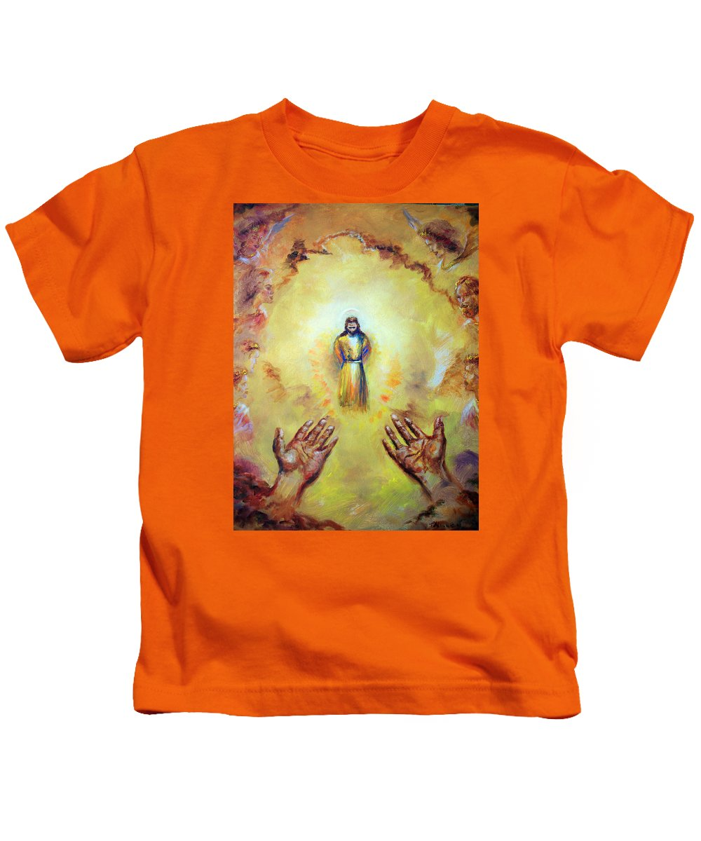 Jesus Christ Kids T-Shirt featuring the painting Welcome Home by Tommy Winn