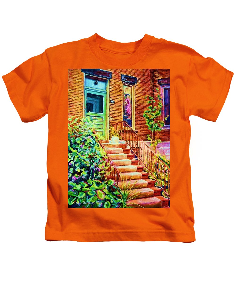 Westmount Home Kids T-Shirt featuring the painting Westmount Home by Carole Spandau