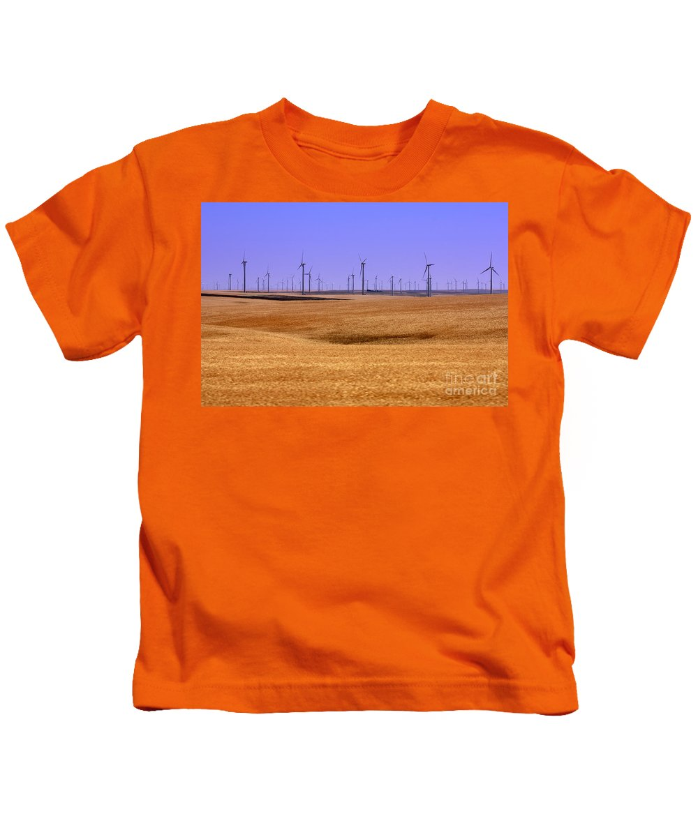 Wind Turbines Kids T-Shirt featuring the photograph Wheat Fields And Wind Turbines by Carol Groenen