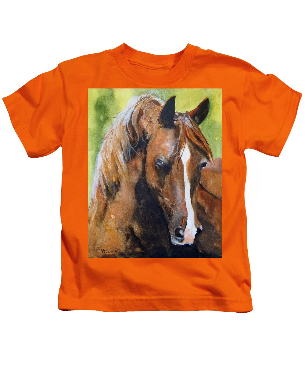 Horse Kids T-Shirt featuring the painting White Blaze by Jean Blackmer