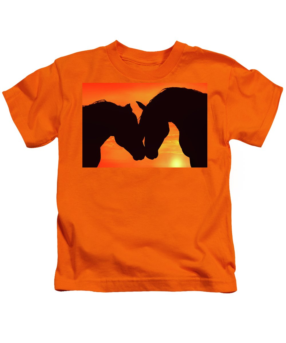 Horse Kids T-Shirt featuring the photograph Wholeheartedly by Iryna Goodall