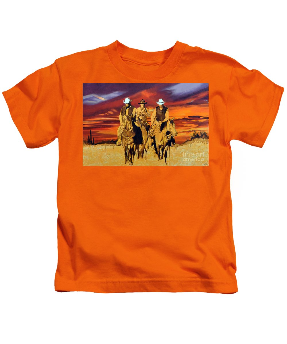 Cowboys Kids T-Shirt featuring the painting Arizona Sunset by Michael Stoyanov