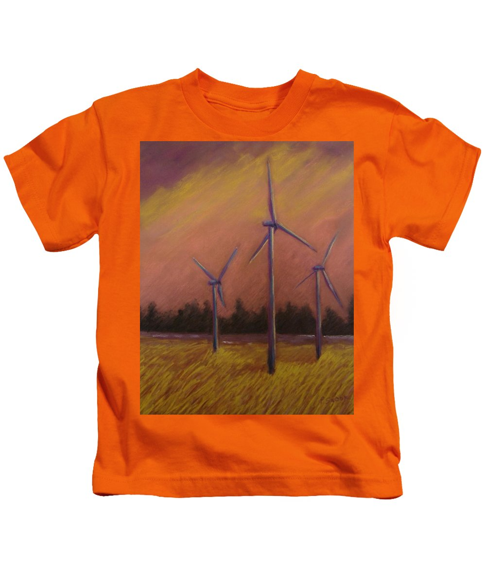 Wind Turbine Kids T-Shirt featuring the pastel Wind And Wheat by Pat Snook