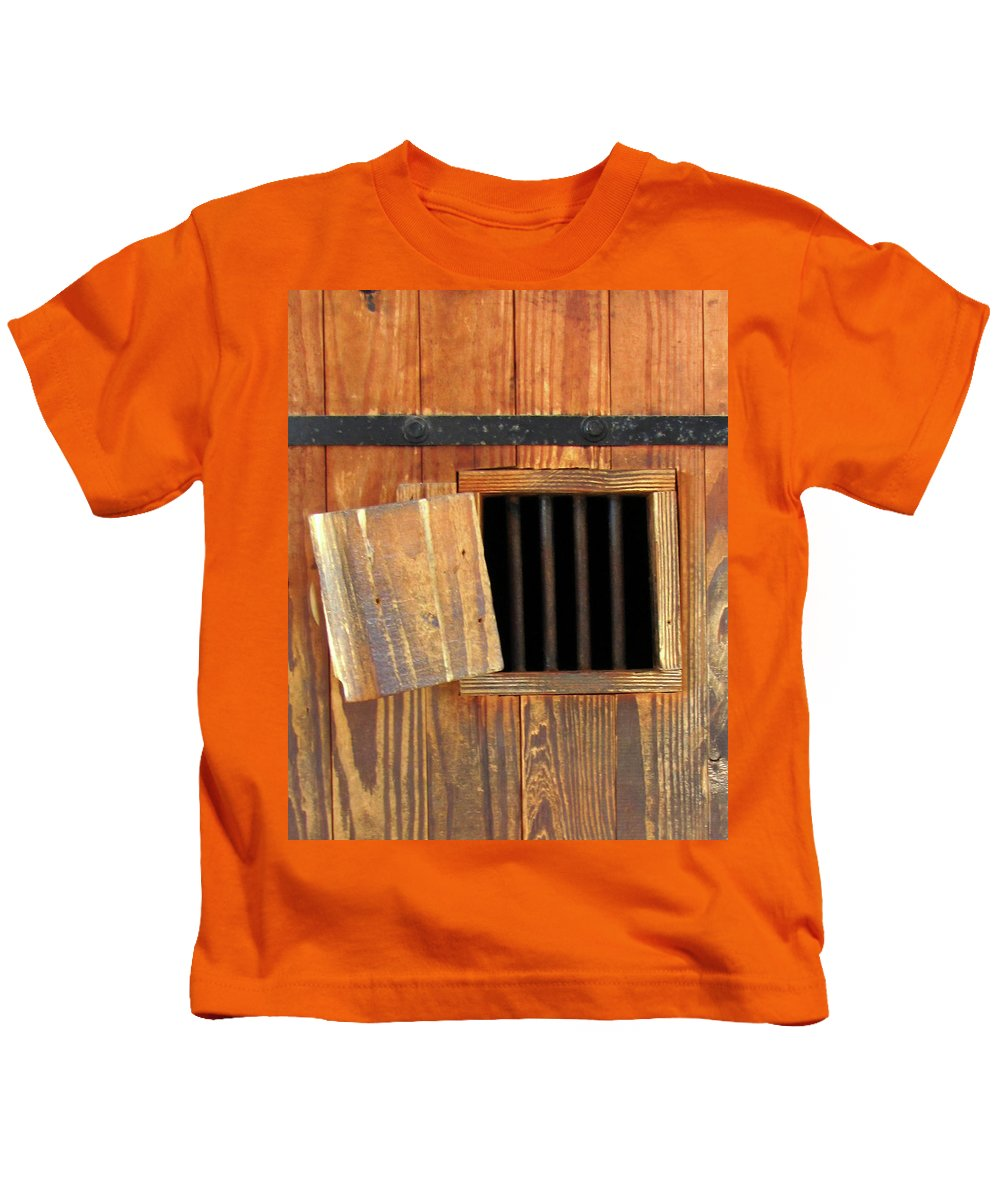 Window Kids T-Shirt featuring the photograph Window Of Darkness by Peg Urban
