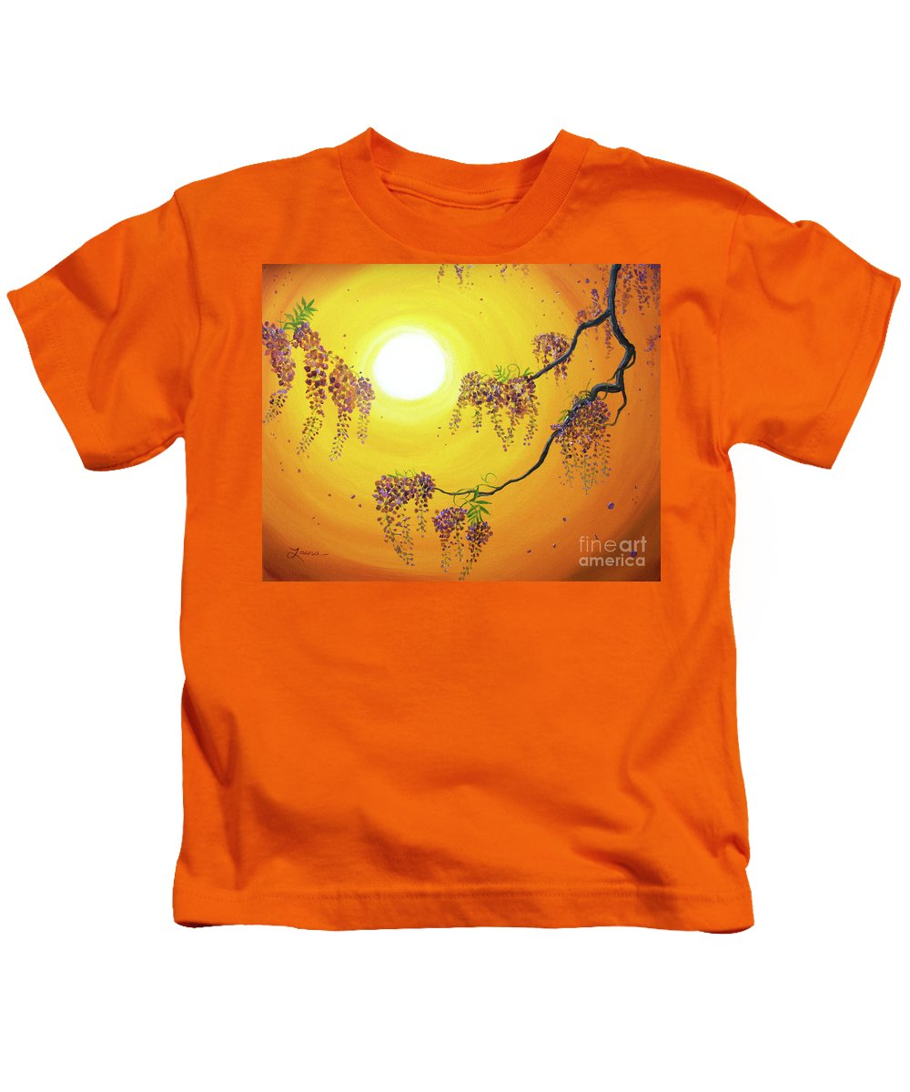Painting Kids T-Shirt featuring the painting Wisteria In Golden Glow by Laura Iverson