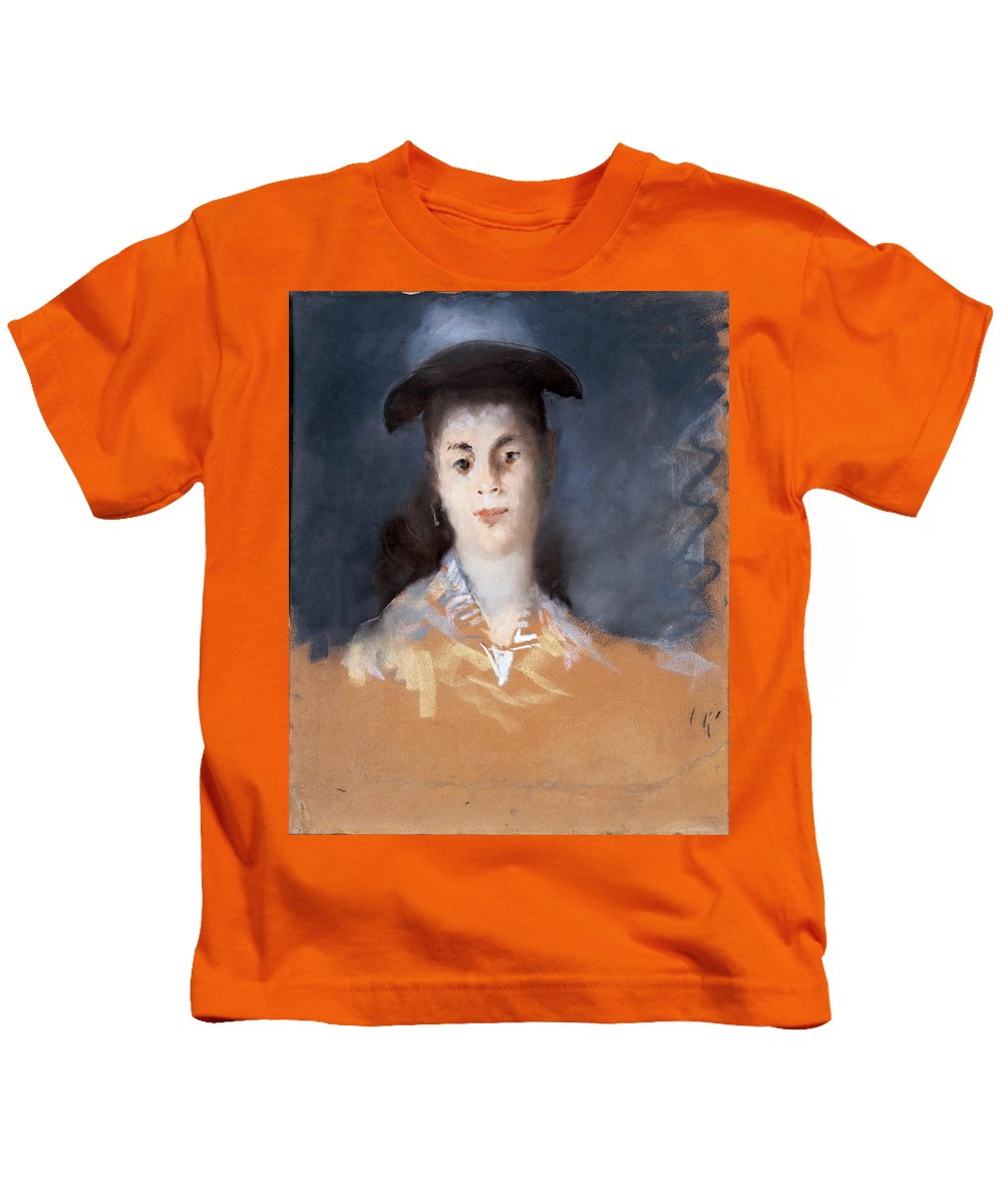 Edouard Manet Kids T-Shirt featuring the drawing Woman Wearing A Hat With Silk Gauze by Edouard Manet