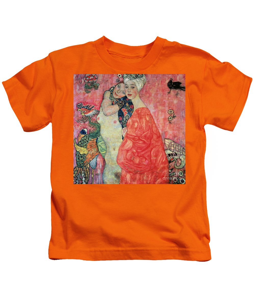 Women Kids T-Shirt featuring the painting Women Friends by Gustav Klimt