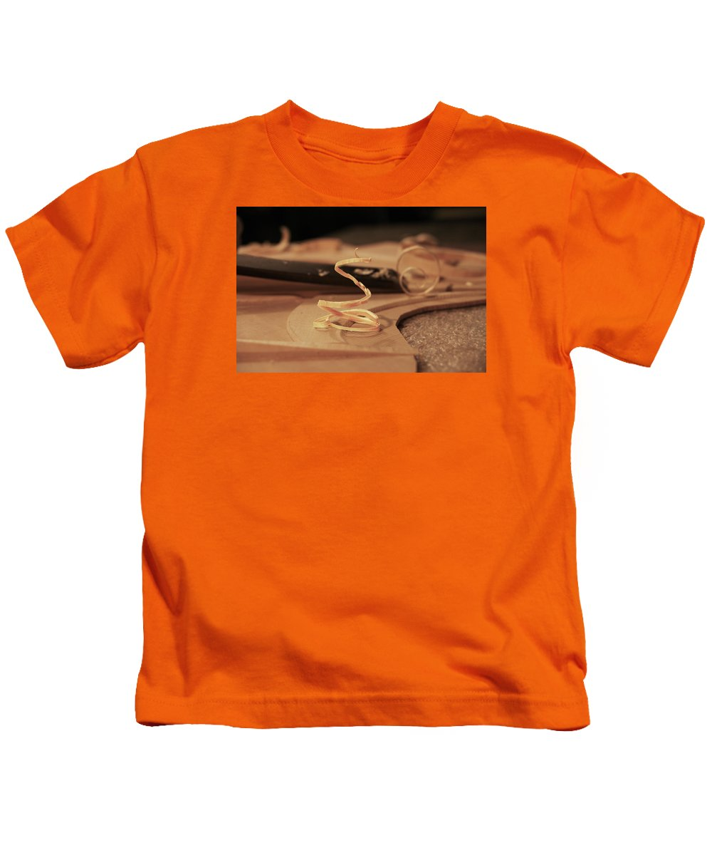 Wood Kids T-Shirt featuring the photograph Wood Curl by Grant Groberg