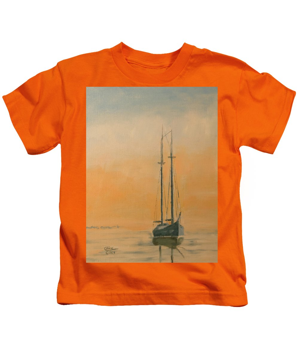 Boat Kids T-Shirt featuring the painting Work Boat At Rest by Christopher Jenkins
