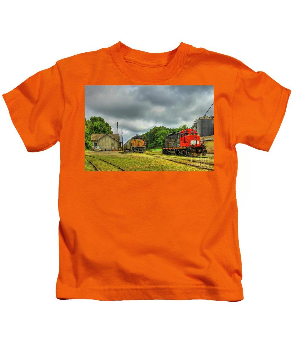 Reid Callaway Train And Track Kids T-Shirt featuring the photograph Work Horse Trains 3 Madison Georgia Locomotive Art by Reid Callaway