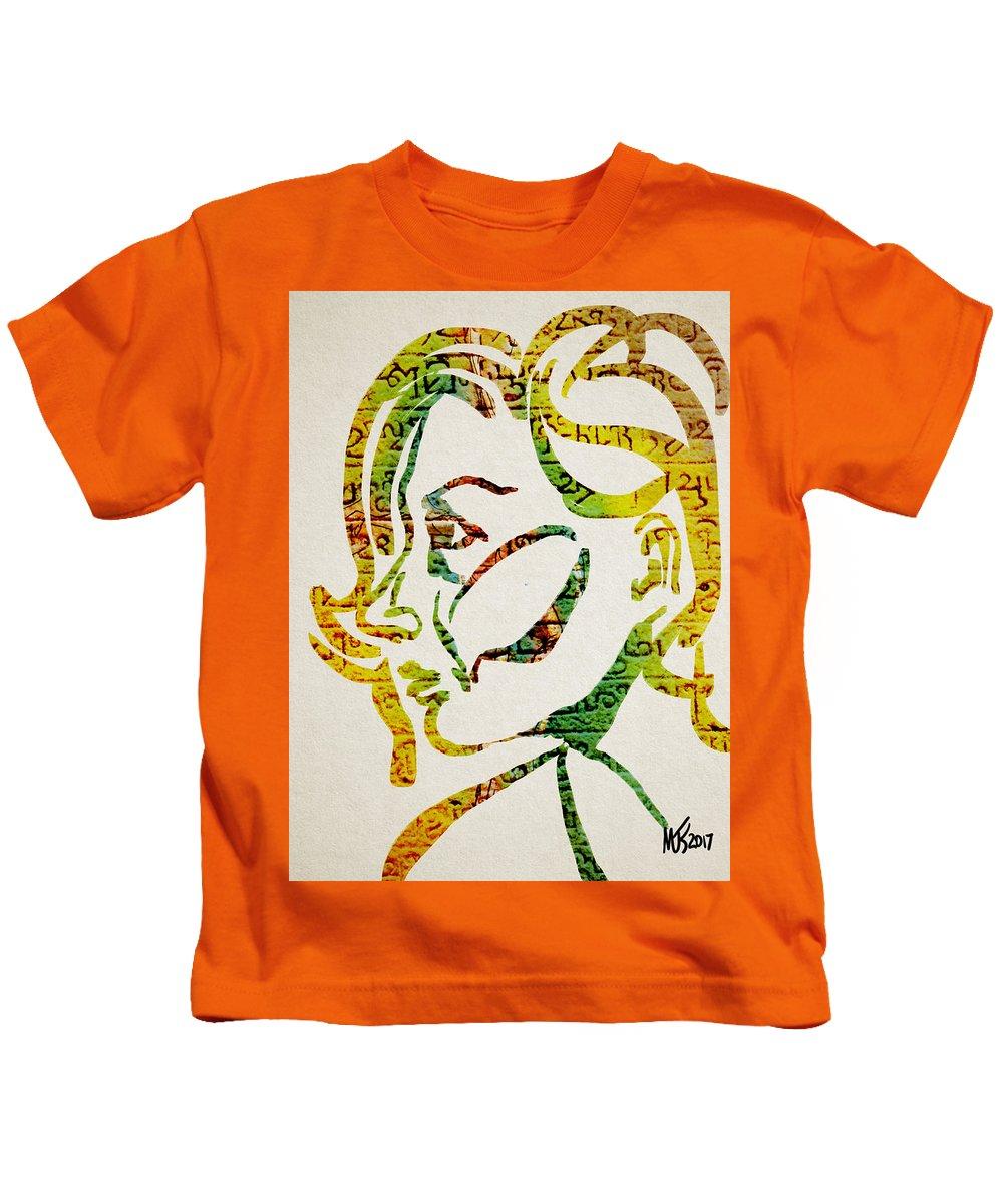 Portrait Kids T-Shirt featuring the digital art Written In Stone by Michael Kallstrom