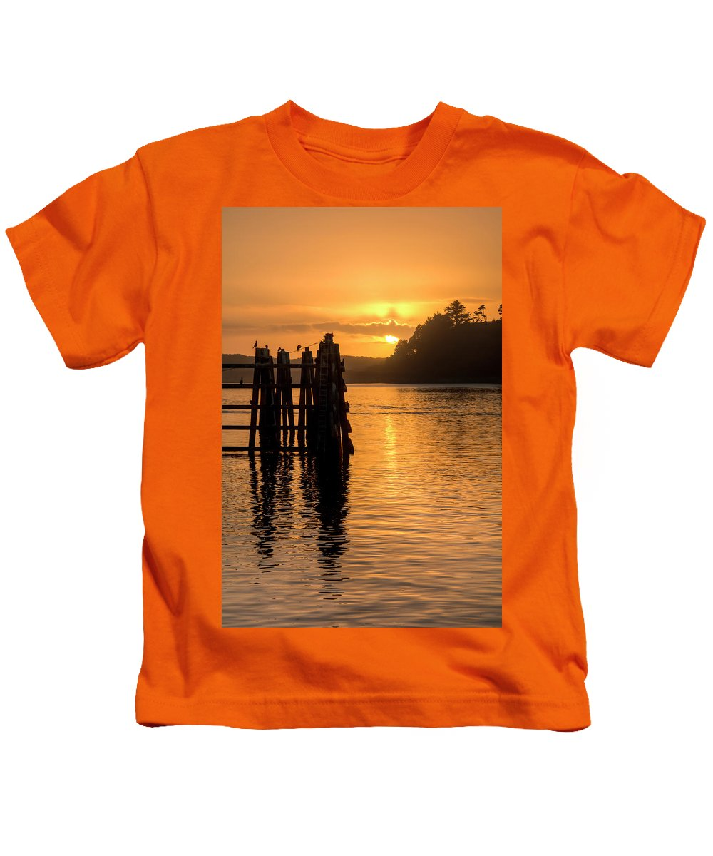 Sunset Kids T-Shirt featuring the photograph Yaquina Bay Sunset - Vertical by Kristina Rinell