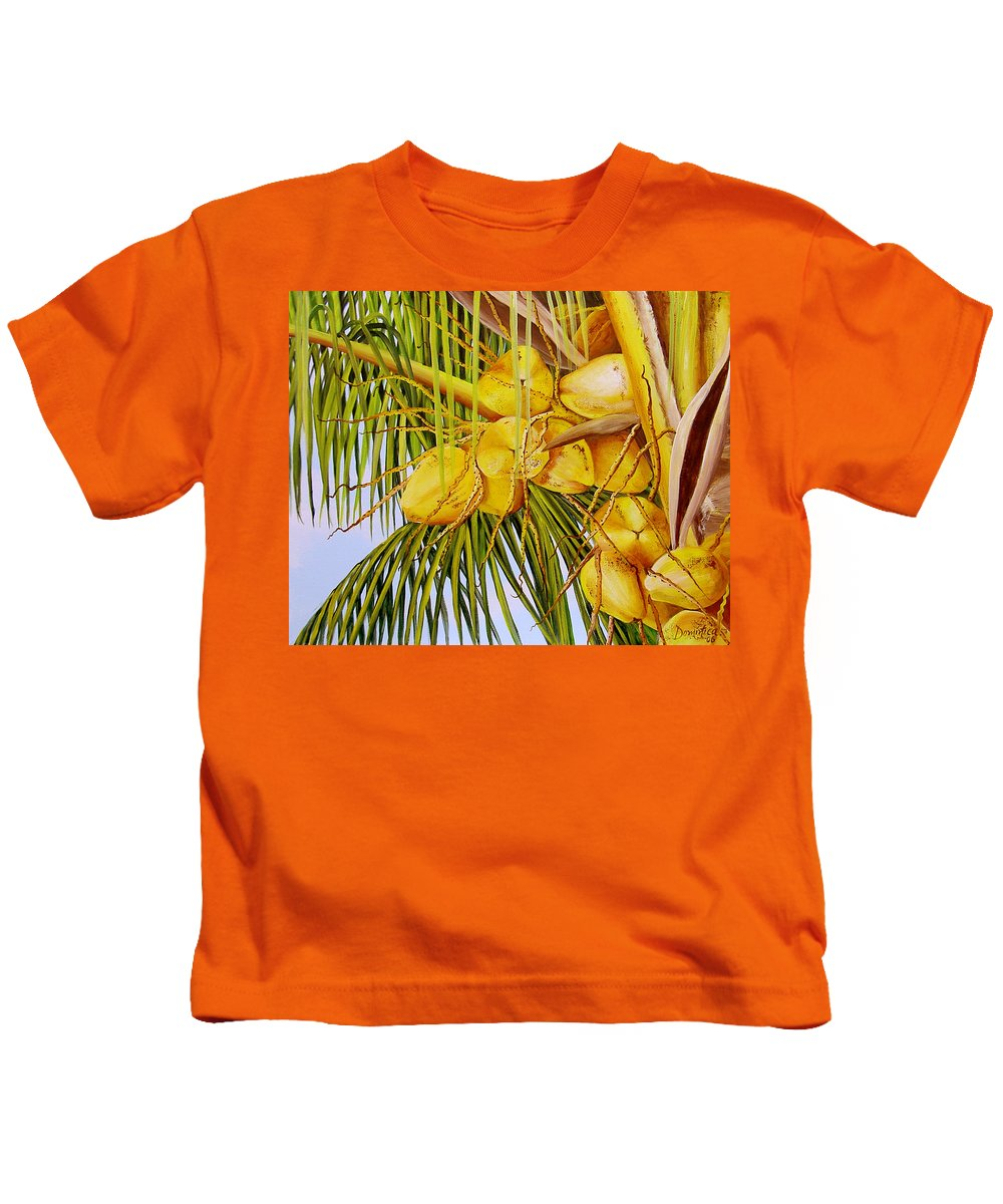 Coconuts Kids T-Shirt featuring the painting Yellow Coconuts- 01 by Dominica Alcantara