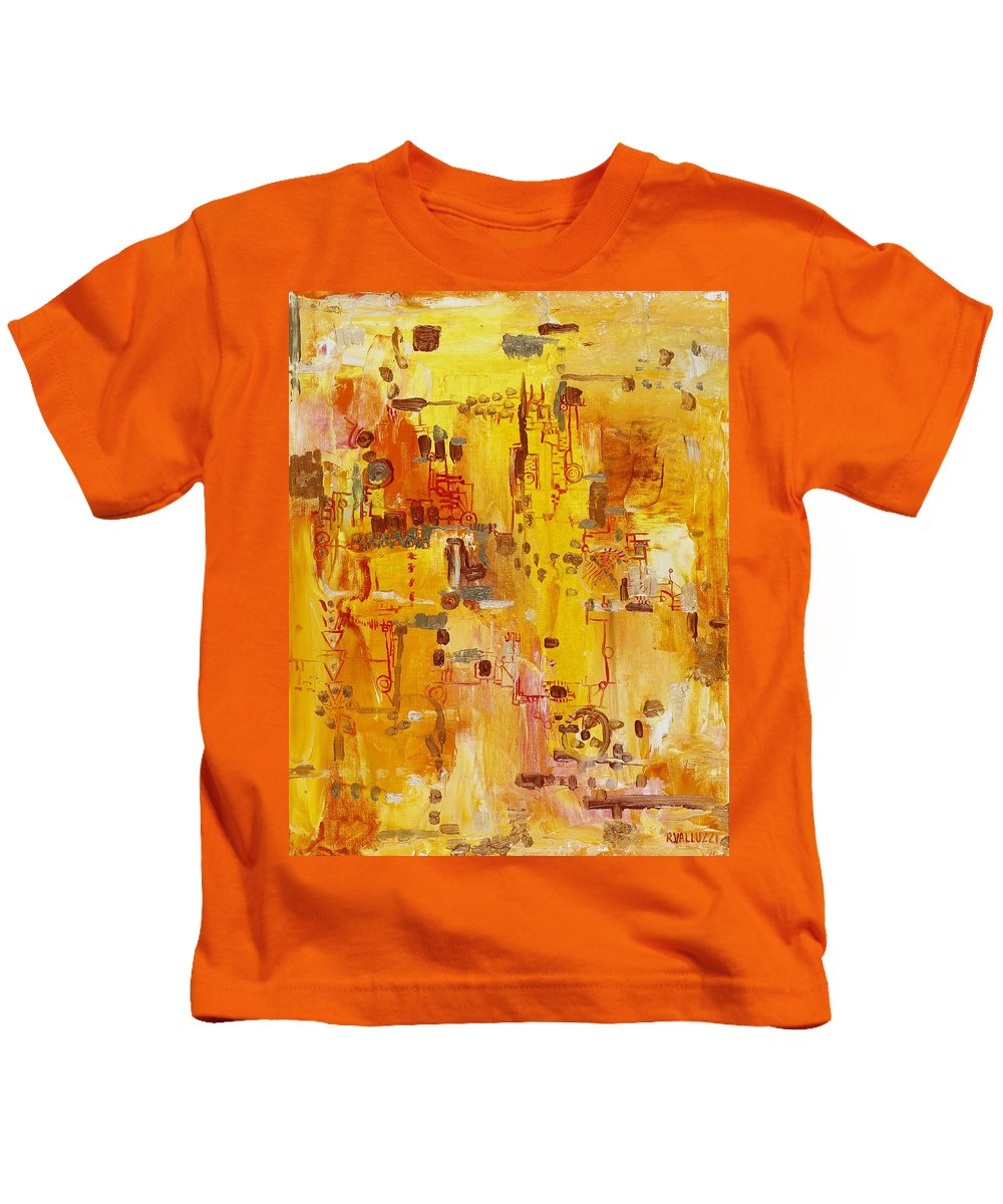 Landscape Kids T-Shirt featuring the painting Yellow Conundrum by Regina Valluzzi