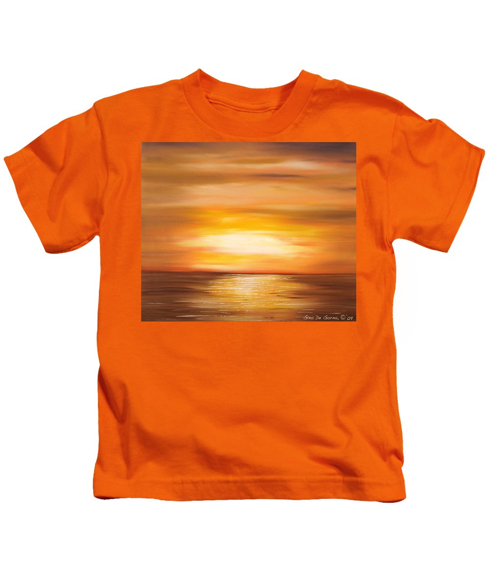Yellow Gold Colors Sunsets Oil Painting Originals Gina De Gorna Art Works Kids T-Shirt featuring the painting Yellow Gold Sunset by Gina De Gorna
