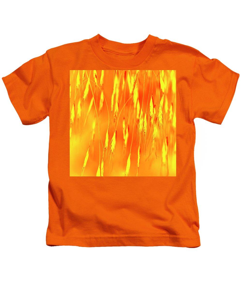 Grass Kids T-Shirt featuring the photograph Yellow Grass Spikes by Heiko Koehrer-Wagner