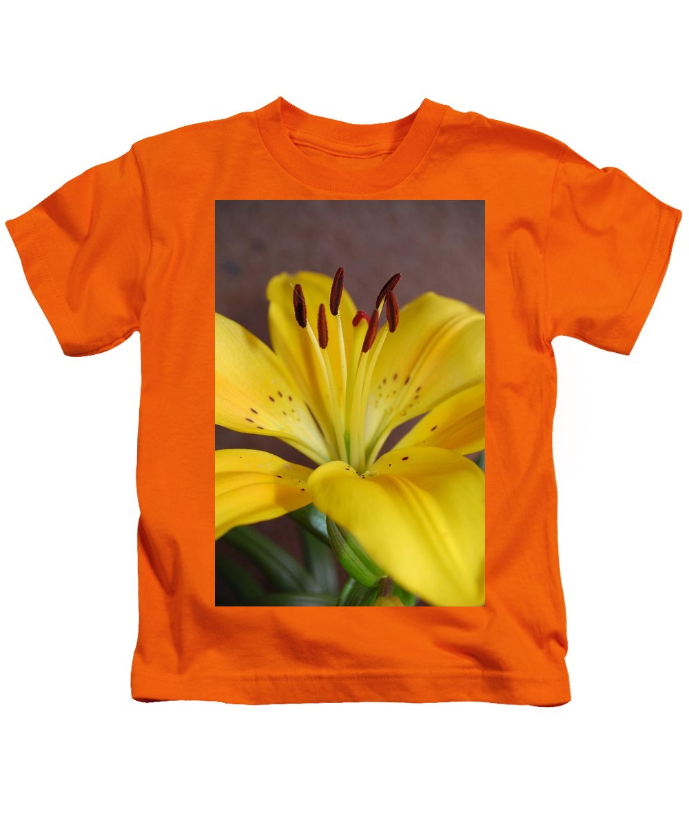 Flower Kids T-Shirt featuring the photograph Yellow Lily 2 by Amy Fose