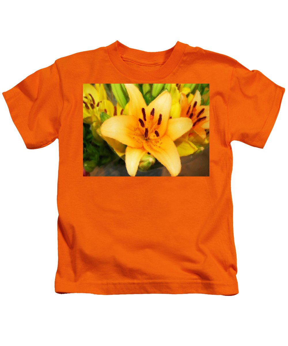 Sunflowers Kids T-Shirt featuring the painting Yellow Lily by Michael Thomas