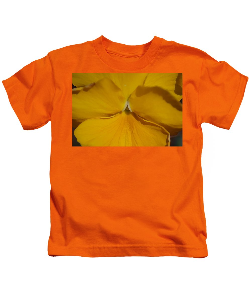 Yellow Kids T-Shirt featuring the photograph Yellow Pansy by Donna Bentley