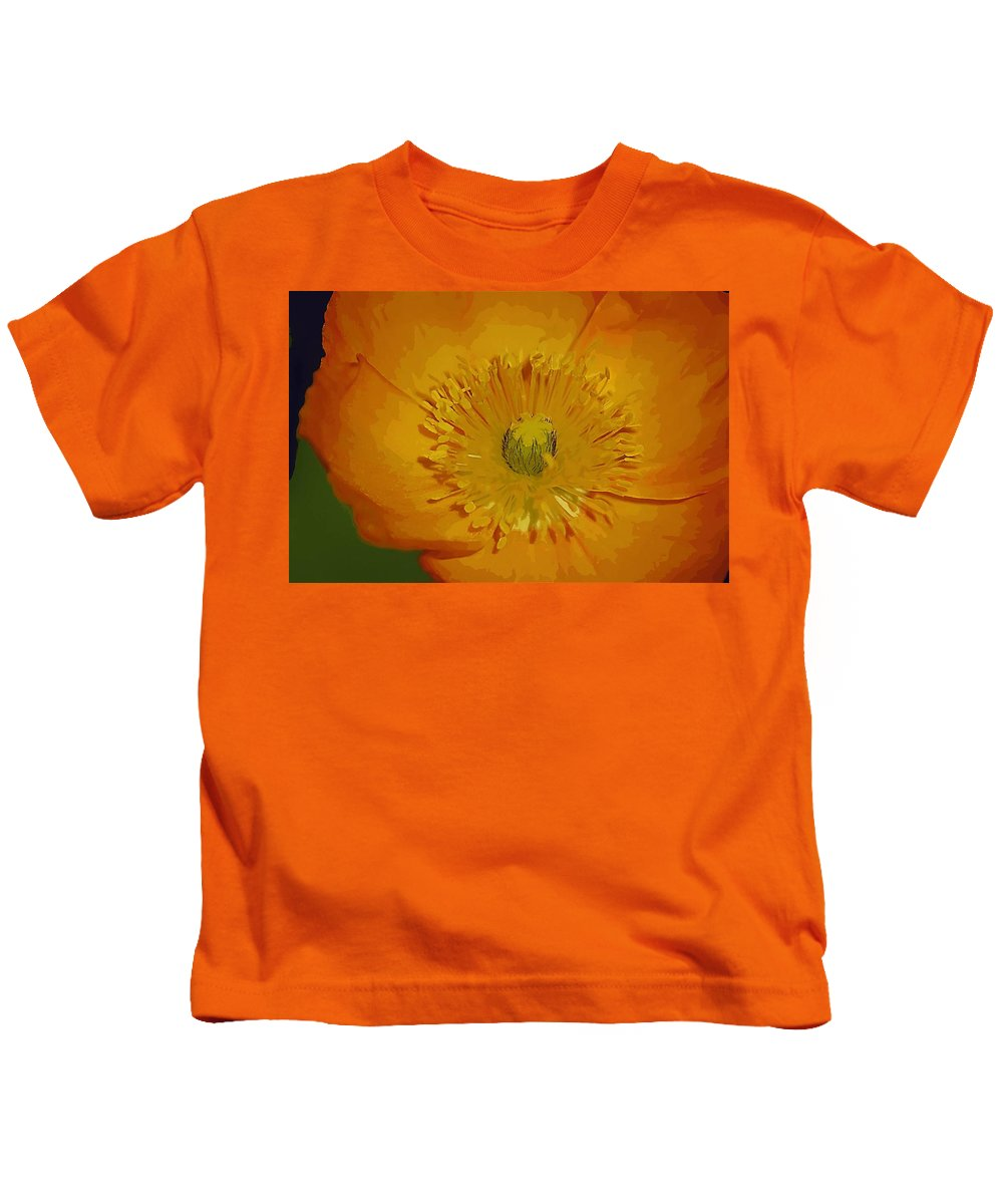 Poppy Kids T-Shirt featuring the photograph Yellow Poppy by Donna Bentley