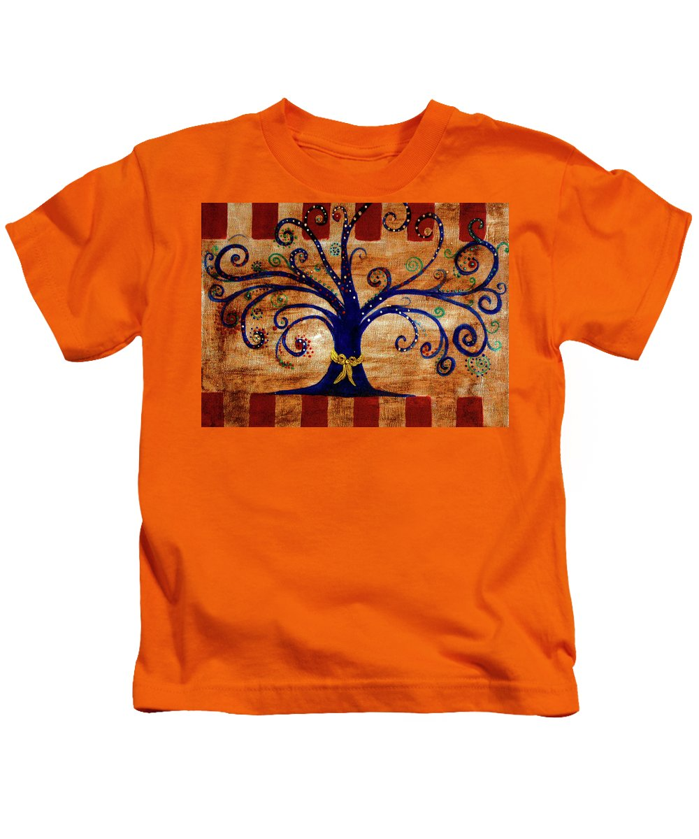 Kids T-Shirt featuring the painting Yellow Ribbon by Melinda Etzold