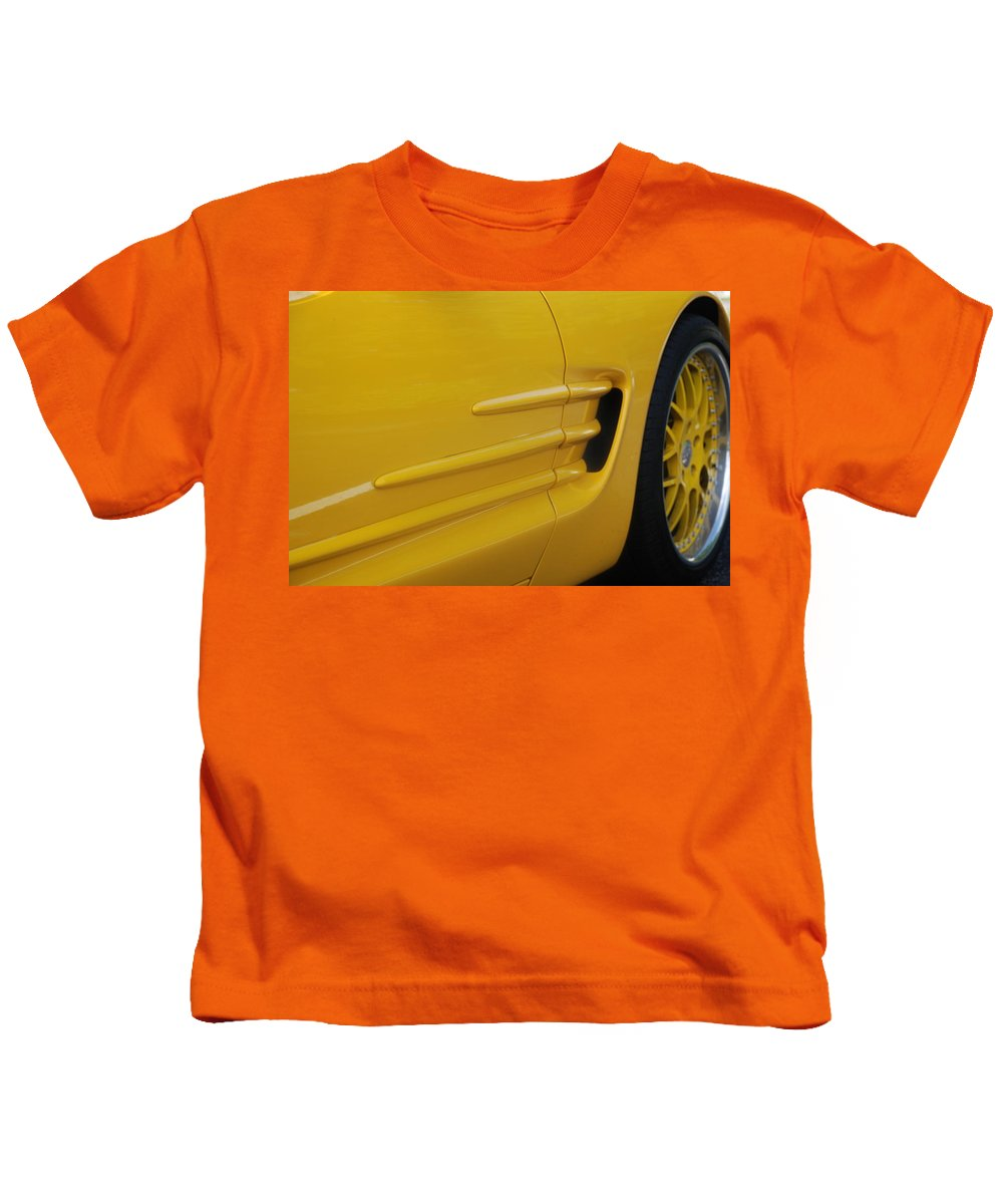 Corvette Kids T-Shirt featuring the photograph Yellow Vette by Rob Hans