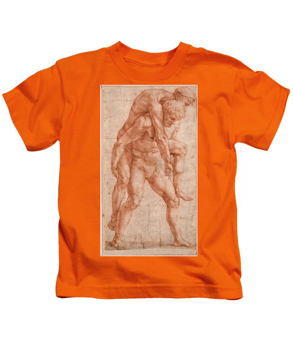 Raphael Kids T-Shirt featuring the drawing Young Man Carrying An Old Man On His Back by Raphael