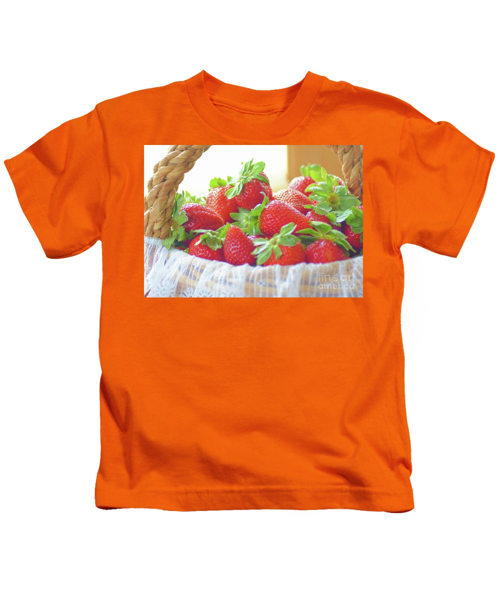 Strawberries Kids T-Shirt featuring the photograph Yummy by Luv Photography
