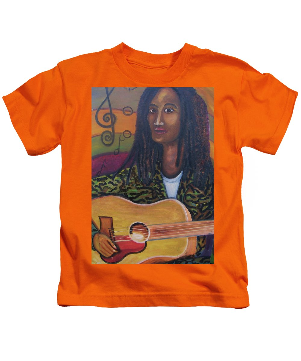 Kids T-Shirt featuring the painting Abstract Music by Andrew Johnson