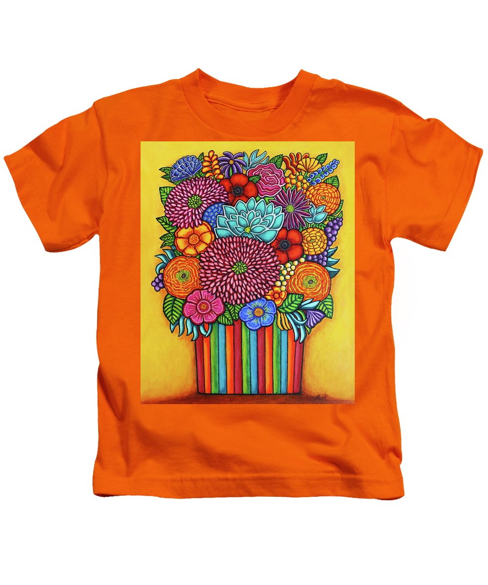 Flowers Kids T-Shirt featuring the painting Celebration Rainbow Bouquet by Lisa Lorenz