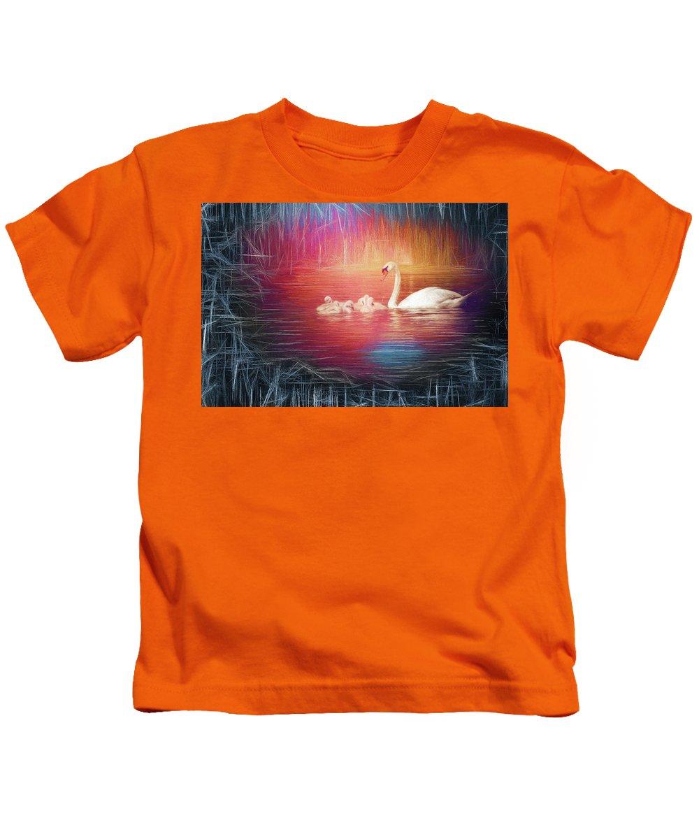 Swan Kids T-Shirt featuring the photograph Morning Bath 2 by Jaroslav Buna