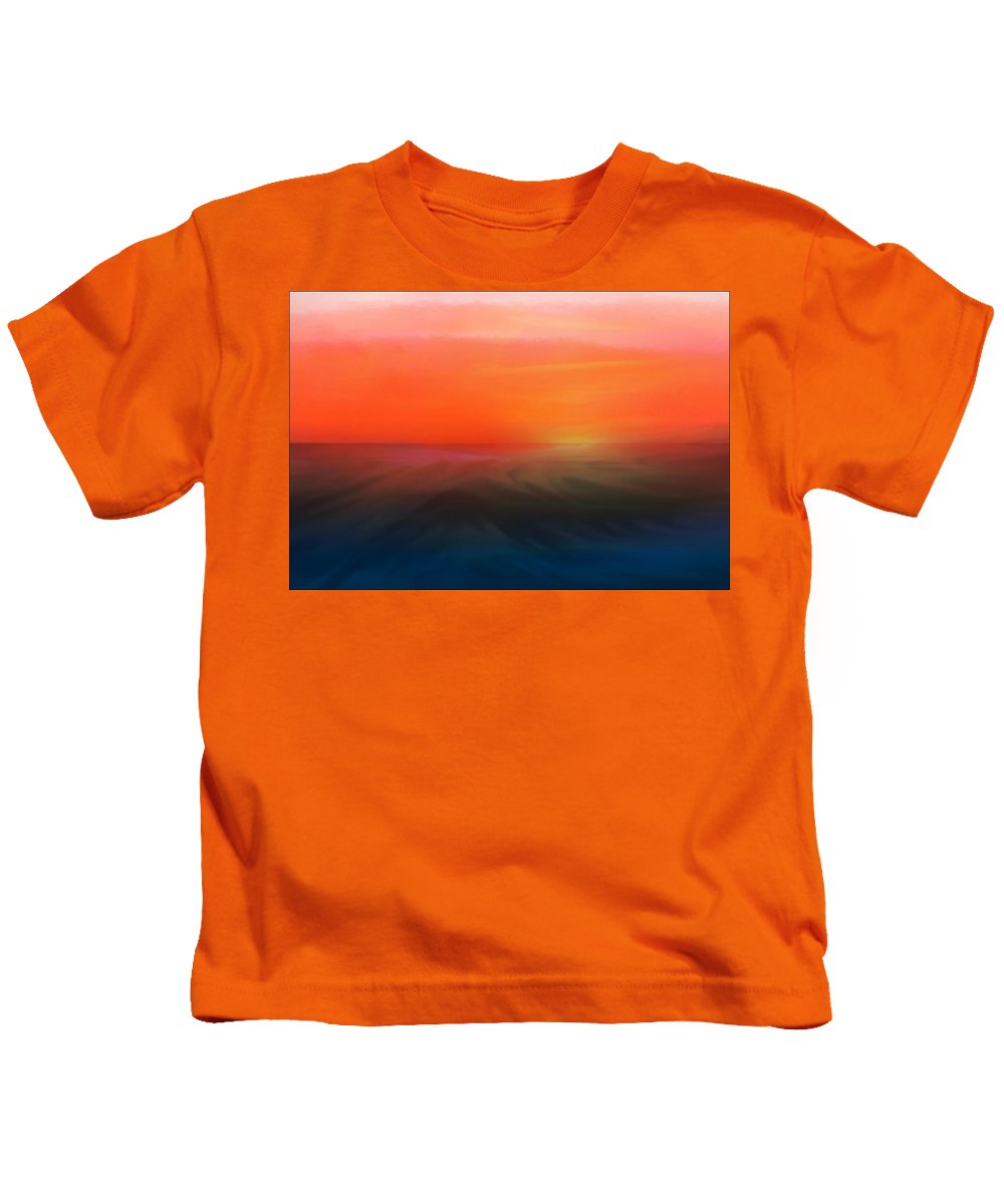 Sunset Painting Kids T-Shirt featuring the mixed media Ocean Sunset by Aaron Berg