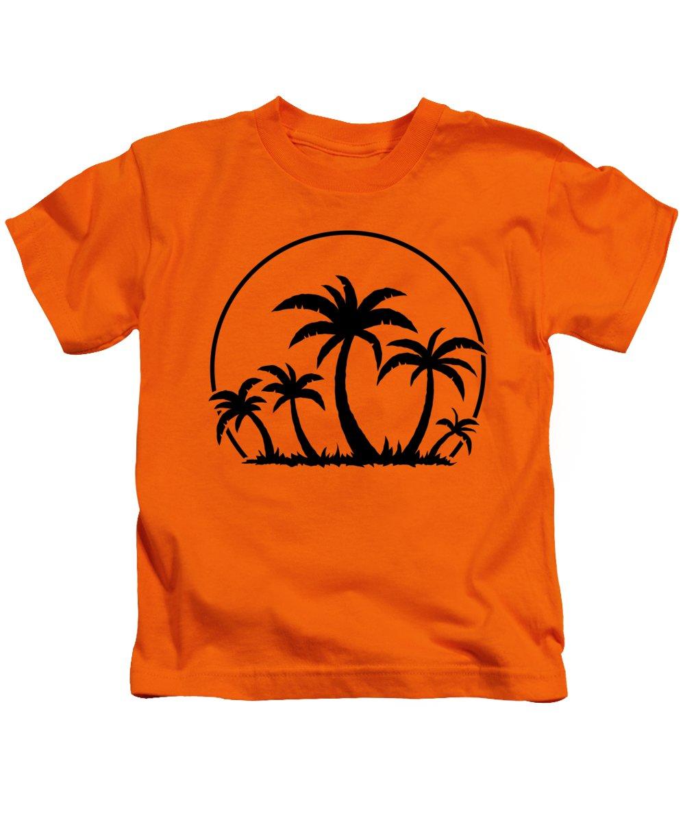 Beach Kids T-Shirt featuring the digital art Palm Trees And Sunset in Black by John Schwegel
