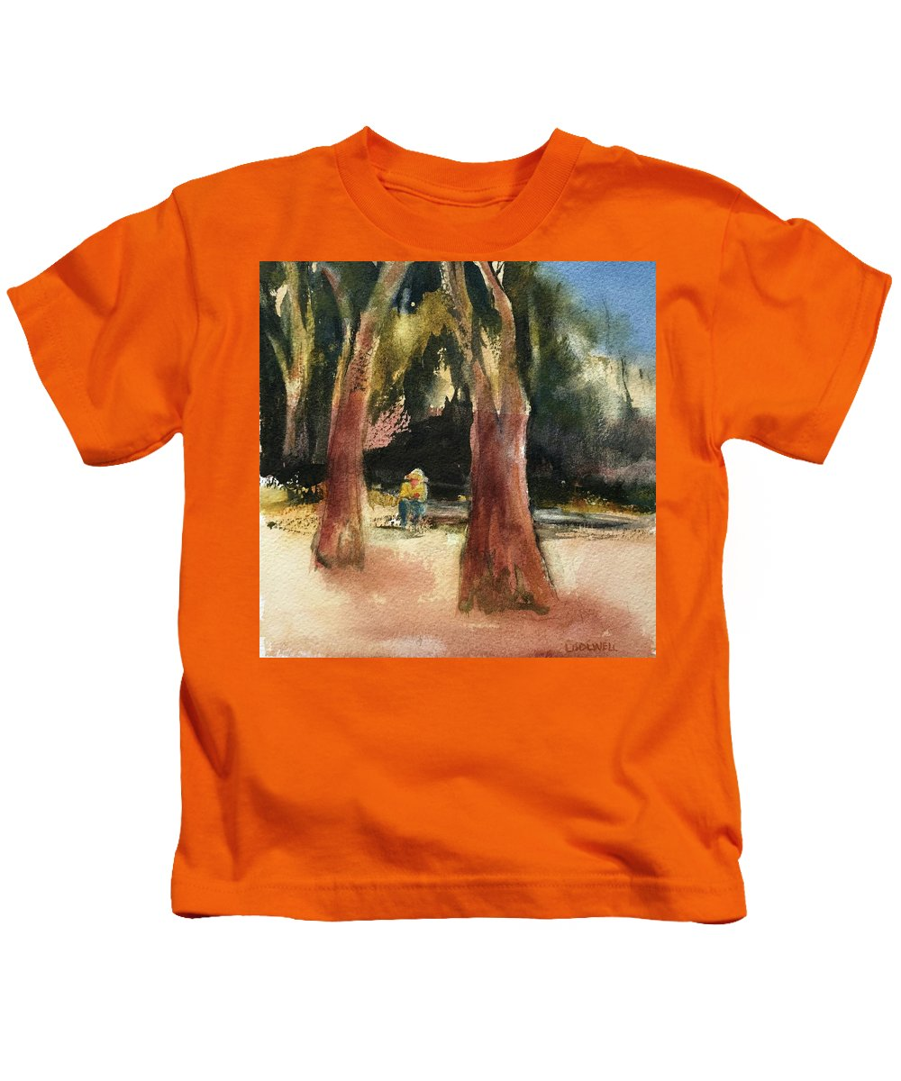 Coffee Break Kids T-Shirt featuring the painting Seeking Shade by Lynne Bolwell