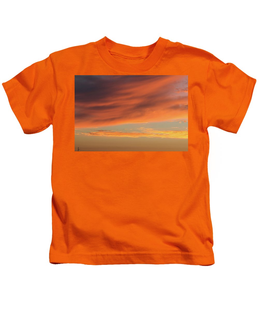 Sunset Kids T-Shirt featuring the photograph Skies Of Orange by Shot City Media