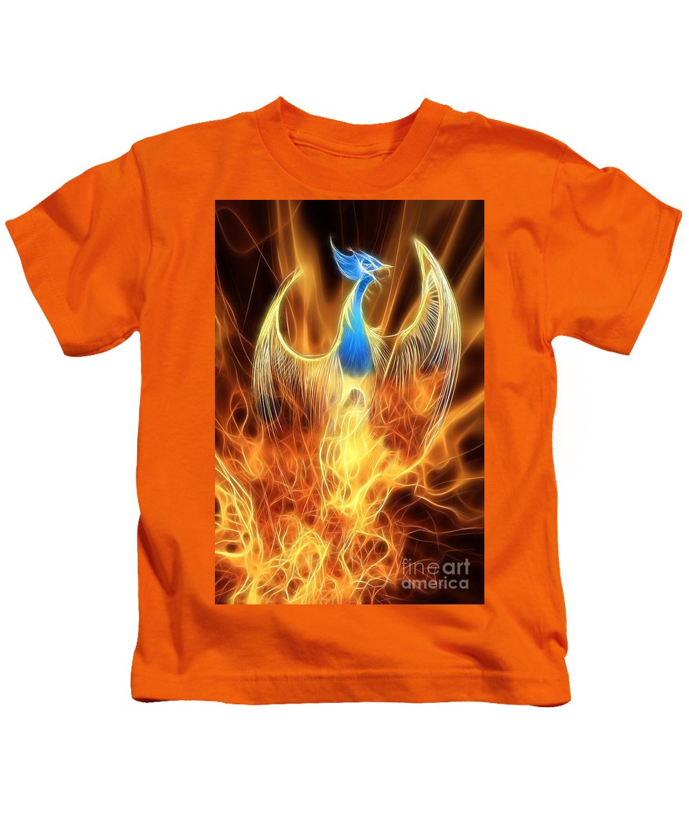 Mythology Kids T-Shirt featuring the digital art The Phoenix Rises From The Ashes by John Edwards