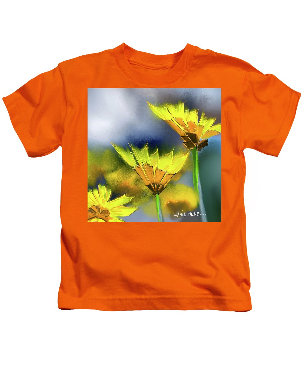 Floral Kids T-Shirt featuring the painting Yellow Flowers 1 by Anil Nene