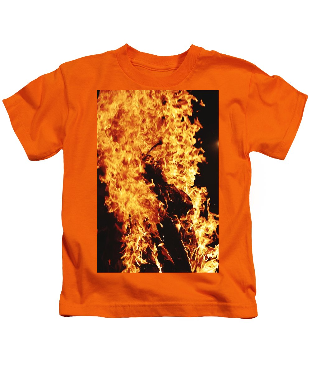 Campfire Kids T-Shirt featuring the photograph Closeup of Fire at time of festival by Ravindra Kumar