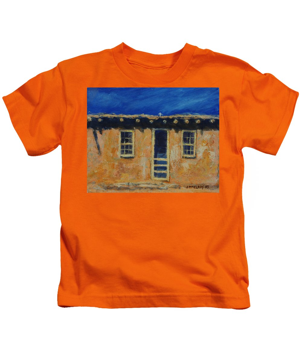 Acoma Kids T-Shirt featuring the painting Acoma by Jerry McElroy