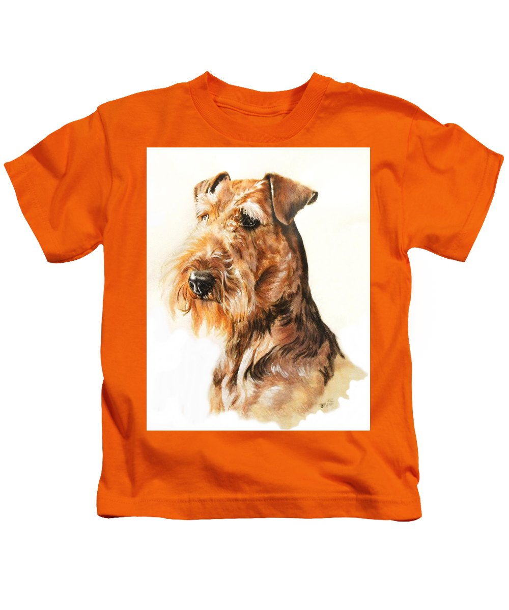 Terrier Kids T-Shirt featuring the painting Airedale Portrait in Watercolor by Barbara Keith
