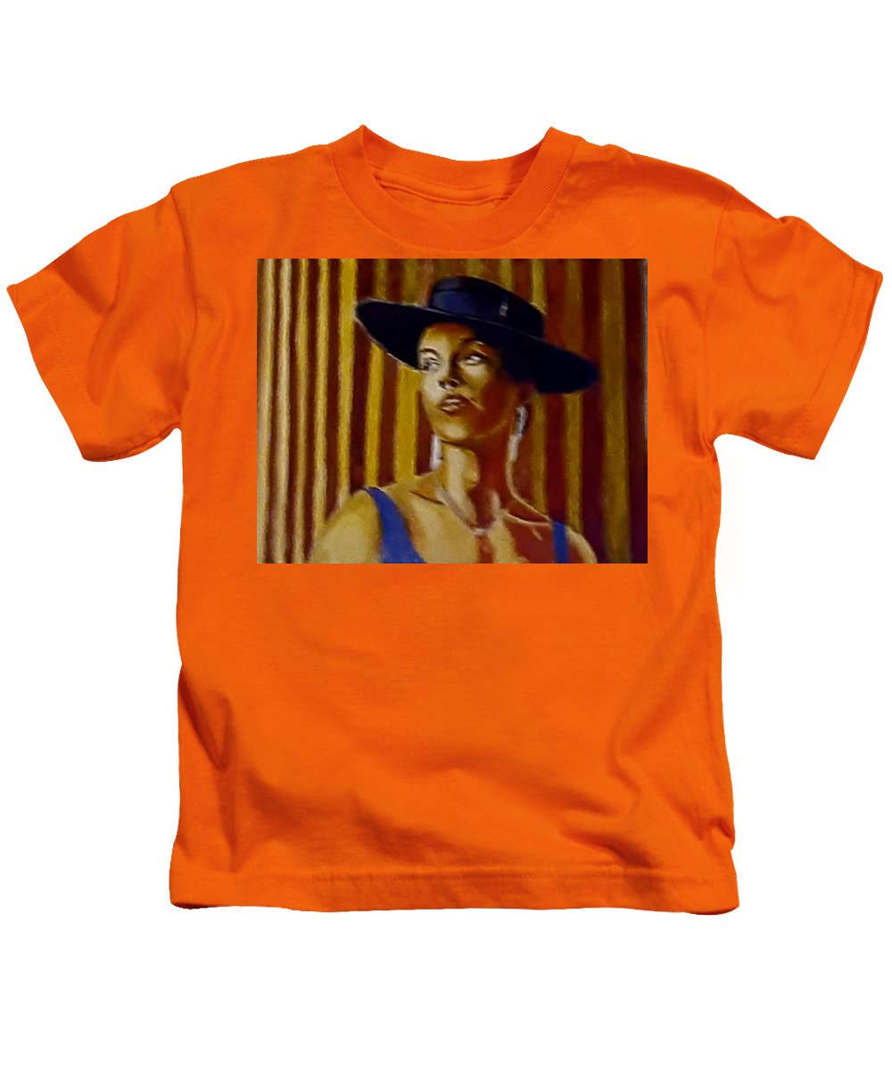 Portrait Kids T-Shirt featuring the painting Alica by Andrew Johnson