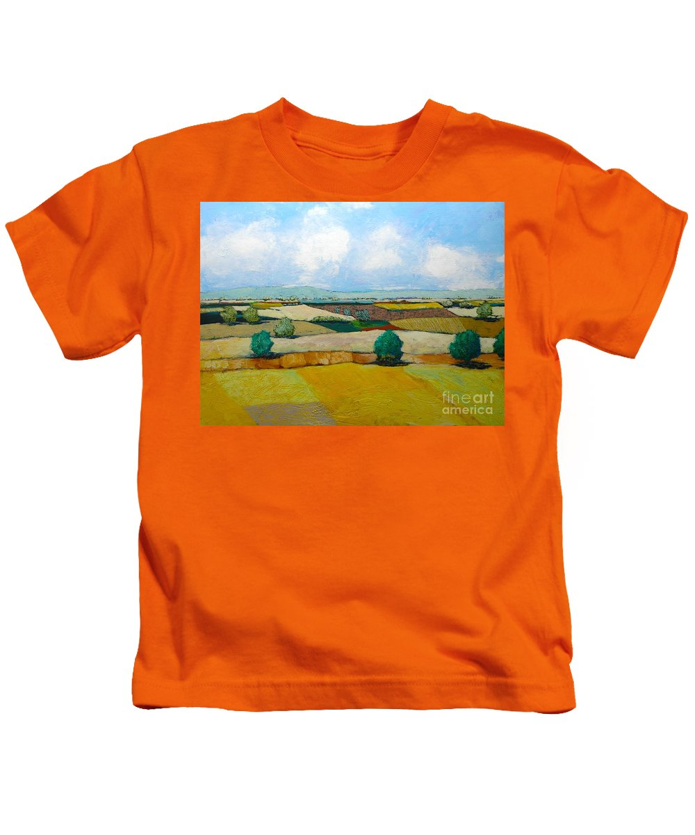 Landscape Kids T-Shirt featuring the painting Sears Point by Allan P Friedlander