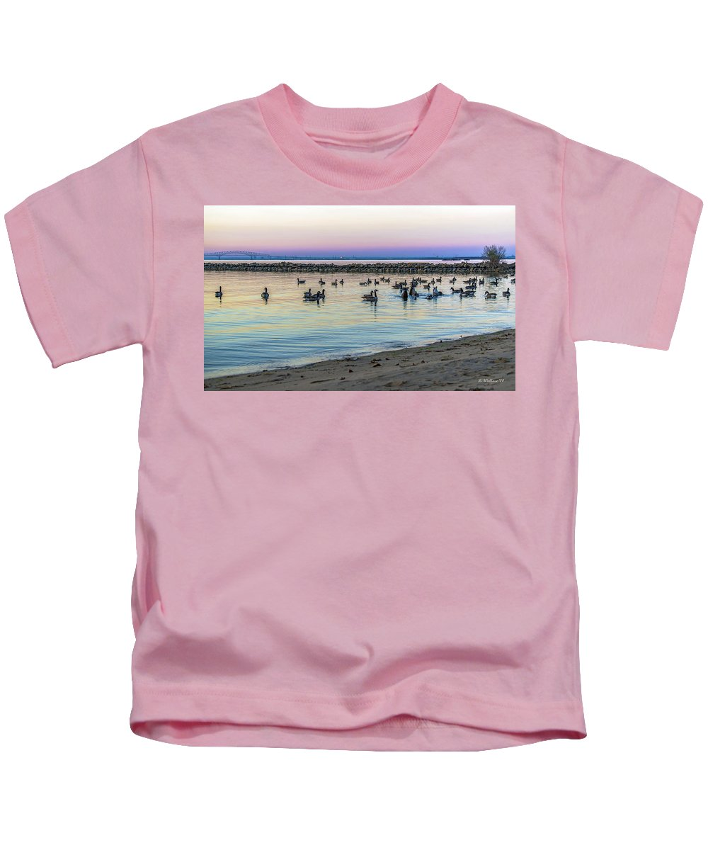 2d Kids T-Shirt featuring the photograph Geese At Dusk by Brian Wallace