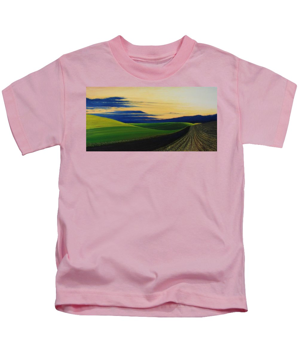 Landscape Kids T-Shirt featuring the painting Palouse Drive by Leonard Heid