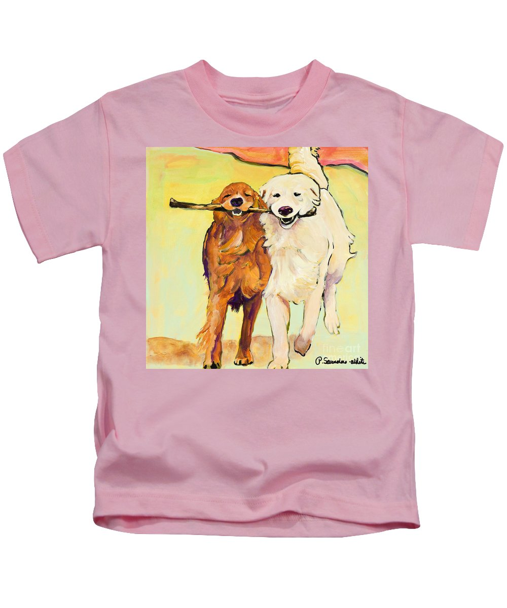Pat Saunders-white Kids T-Shirt featuring the painting Stick With Me by Pat Saunders-White